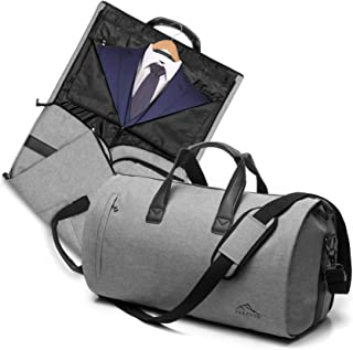 Convertible Garment Bag with Shoulder Strap for Men and Women, 2 in 1 Carry On Suit Travel Duffel Bag with Luggage Strap