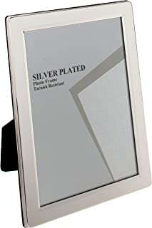 Viceni Plated Flat Edge Photo Frame, 4 by 6-Inch, Silver Plated