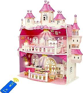Dockhus för flickor, stort slott tvåvånings lekstuga dockor lekset med möbler och tillbehörskit, inkluderat vardagsrum, so...