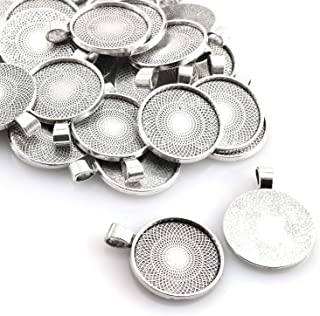 Lind Kitchen 25pcs Round Bezel Pendant Trays Setting Cabochon Blank Base for DIY Crafting Photo Jewelry Findings Making Accessories 25mm