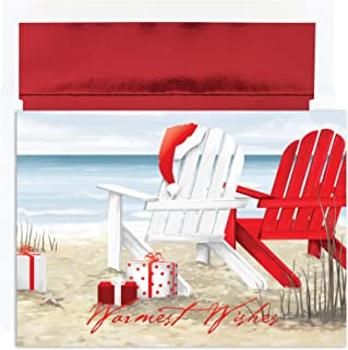 Masterpiece Warmest Wishes 18-Count Christmas Cards, Beach Chairs