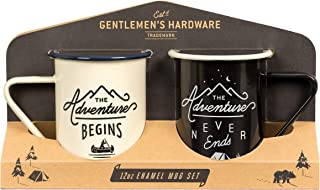 Gentlemen's Hardware Enamel Camping Coffee Mugs, Set of 2, Cream