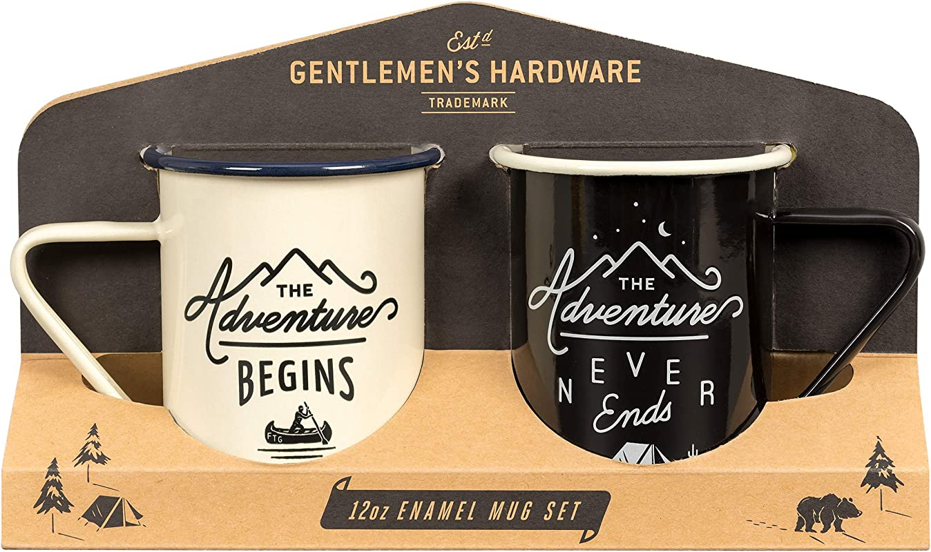 Gentlemen S Hardware Enamel Camping Coffee Mugs Set Of 2 Cream