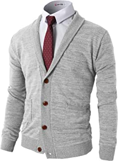 H2H Mens Slim Fit Soft Shawl Collar Cardigan Sweater with Ribbing Edge