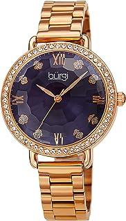 Burgi Swarovski Crystals Women's Watch – Decorated Swarovski Crystals Bezel Multi-Faceted Domed Crystal Lens On Stainless Steel Link Bracelet - BUR269