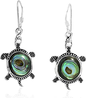 Adorable Sea Turtle Inlaid Abalone Shell .925 Sterling Silver Dangle Earrings