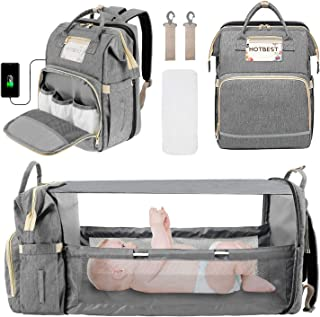 3 in 1 Diaper Bag Backpack for Girls Boys, Portable Mommy Bag with USB Charging Port Foldable Travel Bag Organizer for Newborn Registry Baby Shower Gifts Essentials Accessories Stuff (Gray)