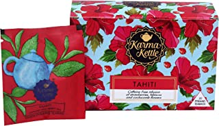 Karma Kettle Tahiti Berry Strawberries Tisane Cockscombe and Hibiscus Flowers Fruity Infusion Iced Tea -20 Pyramid Teabags