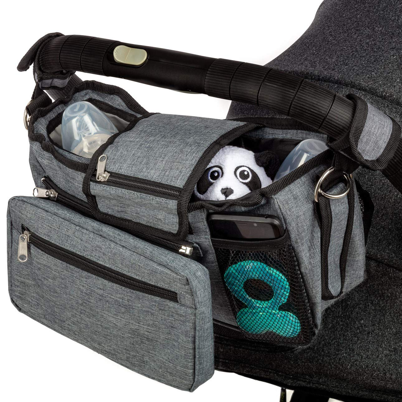 Deluxe Non Slip Baby Stroller Organizer Bag with Insulated Cup Holders, Versatile Stroller Accessory converting into Shoulder Bag, Universal Fit Including Uppababy Vista, BOB, Nuna, Baby Jogger