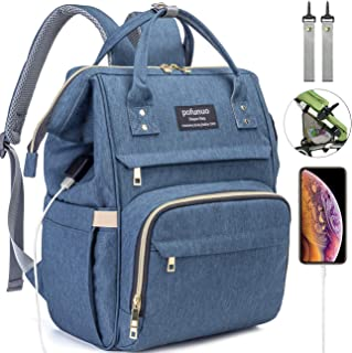 HLMBB Diaper Bag Backpack, Large Capacity for Baby Multifunction Waterproof USB Port