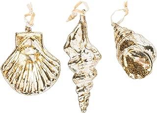 D. Stevens, LLC Key West Gold Tone 3 inch Glass Christmas Decorative Ornaments Set of 3
