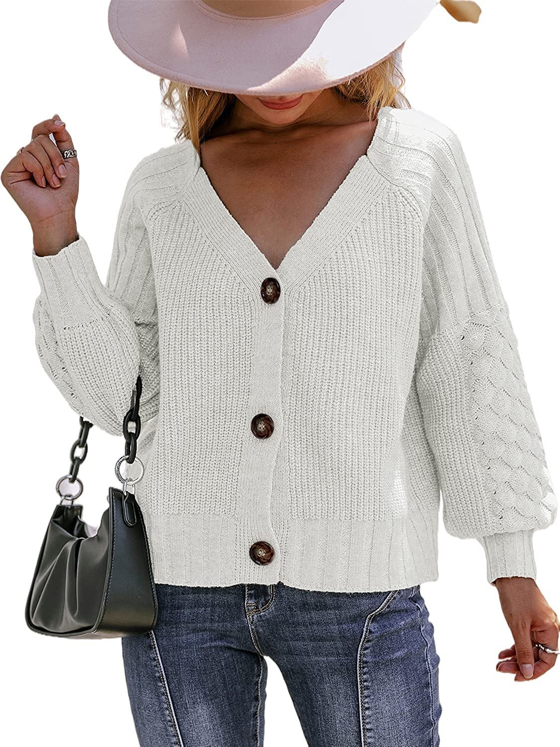 Miessial Women's Button Down Long Sleeve Cardigan Sweaters Chunky Cable Knit Crop Sweater Top