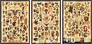 "3 - Sailor Jerry Tattoo Flash Posters 12""x18"" (Each poster is 12""x18"" in size) Certified PosterOffice Prints with Holographic Sequential Numbering for Authenticity"