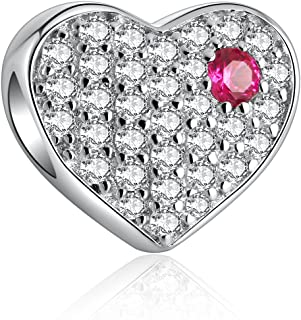 i'ange's 925 Sterling Silver Bead Charms with Authentic Swarovski Crystal, Rainbow Series