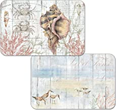 Counterart Set of 4 Reversible Wipe Clean Placemats Shoreline Shells
