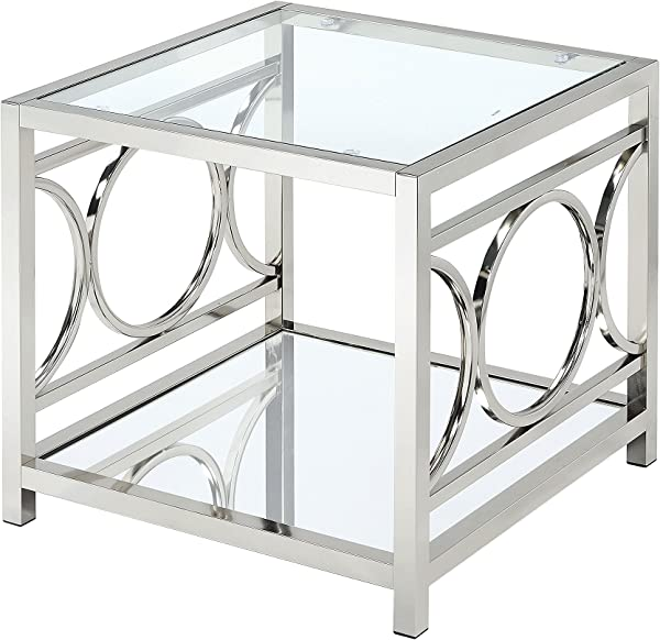 HOMES Inside Out IoHOMES Ortencia Chrome O Ring Frame End Table Chrome