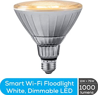 Geeni GN-BW912-999 LUX Smart Floodlight, White  Outdoor 2700K-6500K Dimmable LED Bulb, E26, PAR38, 11W, 1000 Lumens  No Hub Works with Amazon Alexa, Google Assistant, Requires 2.4 GHz Wi-Fi