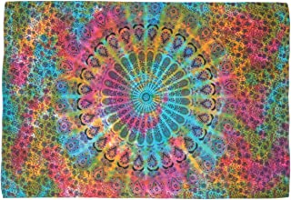 Nidhi متعدد الألوان الشكل والصباغة مقاس مزدوج لرسمة ماندالا للتعليق على الحائط، بطانية بيكنك ، حصيرة للشاطئ، غطاء سرير، غط...