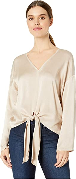 Easy V-Neck Front Tie Top