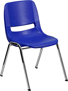 Flash Furniture HERCULES Series 440 lb. Capacity Kid's Navy Ergonomic Shell Stack Chair with Chrome Frame and 14
