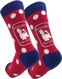 """Rosie the Riveter Socks, Red and White Polkadot Socks, Inspirational """"We Can Do It"""" Message, Patriotic Socks, Feminist Socks"""