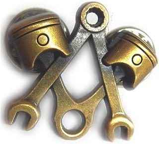 Piston Wrench Harley Antique Gold Mechanic Masonic Tools Hat Jacket Lapel Pin