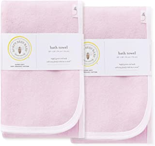 Burt's Bees Baby - Organic Towels, 2-Pack Absorbent Knit Terry, Super Soft Single Ply, Blossom Pink