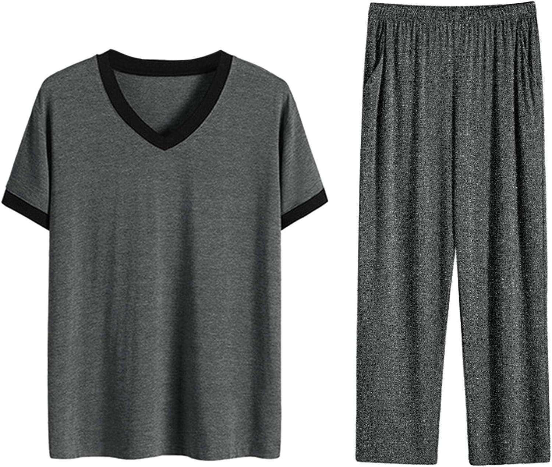 Lars Amadeus Men's Cotton Short Sleeves V Neck Top Bottoms Lounge Sleep Pajamas Sets