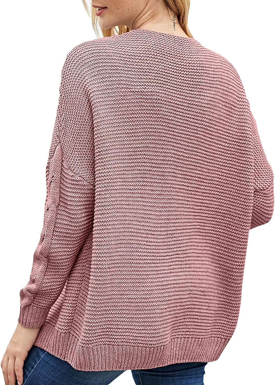 Aleumdr Strickjacke Damen Grobstrick Strickmantel strickcardigan Damen Herbst Winter Casual Open Front Sweater Cardigan Cover Up Patchwork Outwear S-XXL Rosa