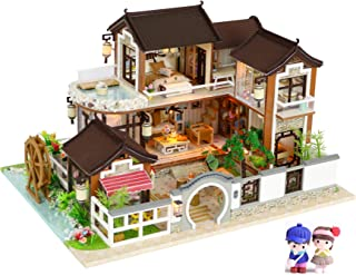 Cool Beans Boutique Miniature DIY Dollhouse Kit Wooden Asian Traditional Mansion with Dolls - with Dust Cover - Architecture Model kit (English Manual)- Traditional Asian Home 13848Z with Dolls