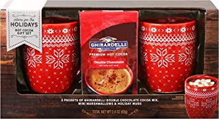 Ghirardelli Cocoa for Two Gift Set | Contains 2 Ceramic Mugs (12 oz.), Ghirardelli Double Hot Chocolate Cocoa, and Mini Marshmallows