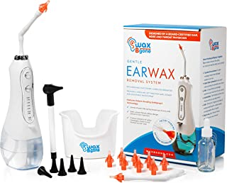 WaxBgone Ear Wax Removal Kit - Complete Ear Cleaning Kit for Adults and Kids - Rechargeable Ear Cleaner with Otoscope, 5 P...