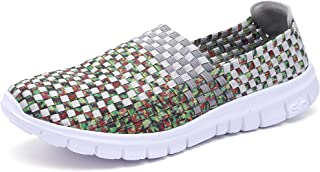 Konfor Women Multicolor Elasticized Fabric Casual Plaid Weave Flats Slip on Sneakers Walking Shoes