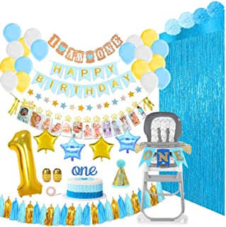 1st Birthday Boy Decorations and Party Supplies 133 Pcs - First Birthday Banners for Highchair, Balloons, 12 Months Milestones, Garlands, Cake Topper, Pom Poms, Party Hat, Backdrops, Blue, Pearl White, Gold Decor Pack