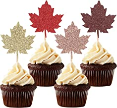 24 Autumn/Fall Maple Leaf Cupcake Toppers Thanksgiving Party Glitter Leaves Decorations - Mixed Colors