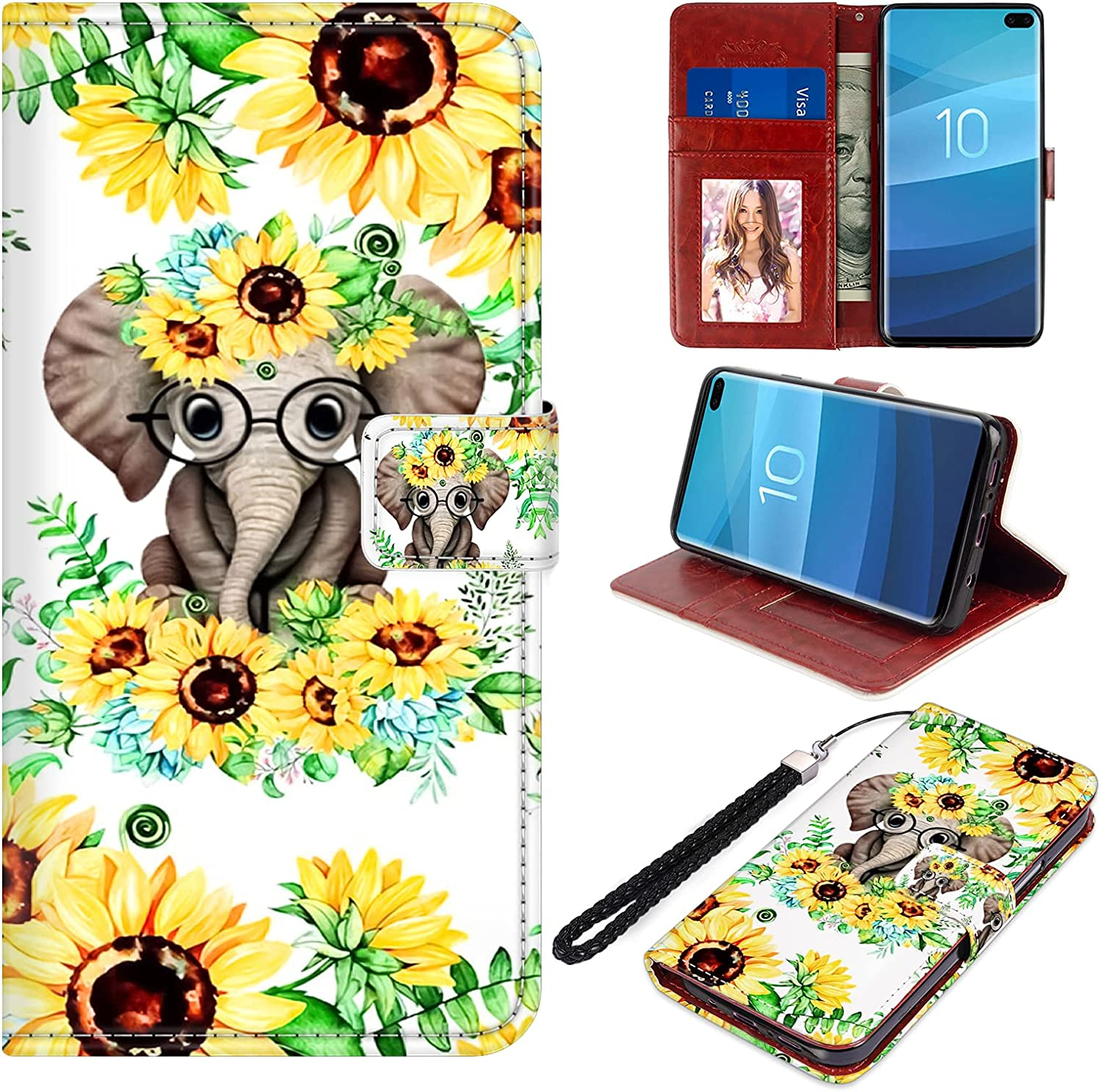 Samsung Galaxy S10 Plus Wallet Case PU Leather Folio Flip Cover Sunflower Elephant Flowers Floral Magnetic Credit Card Holder Protective with Hand Wrist Strap Kickstand Women Girls for S10 Plus 6.4