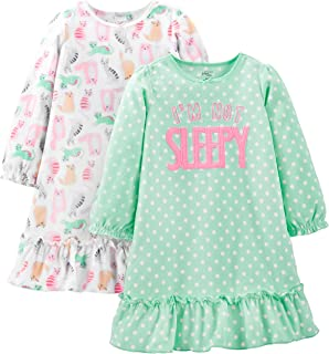 Image of 2 Pack Fleece Cute Not Sleepy and Cats Nightgown for Girls and Toddlers - See More Designs
