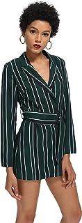 c1f66d72a4e ROMWE Women s Striped Print Colorblock Blazer Short Romper With Belt Formal  Jumpsuit