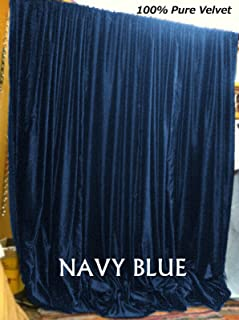 Velvet Curtain Panels - Room Darkening, Blackout Lined Velvet Panel, Curtains for Living Room | Bedroom | Home Theater | Window Treatment Curtains | Outdoor Indoor | (Navy Blue, 50W x 63L)