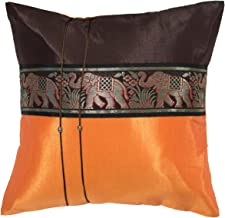 Avarada 16x16 Inch (40x40 cm) Striped Elephant Decorative Throw Pillow Case Cushion Cover for Sofa Couch Chair Bed Insert Not Included Zipper Brown Orange