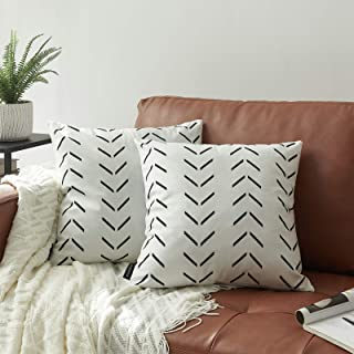 Nestinco Set of 2 White Pillow Covers 18 x 18 inches Boho Aztec Polyester Blend Square Decorative Throw Pillow Covers for ...