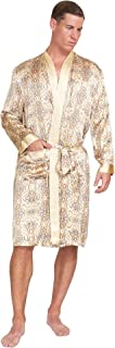 MYK Silk 100% Pure Mulberry Silk Men's Lightweight Kimono Style Spa and Lounge Robe with Gift Box