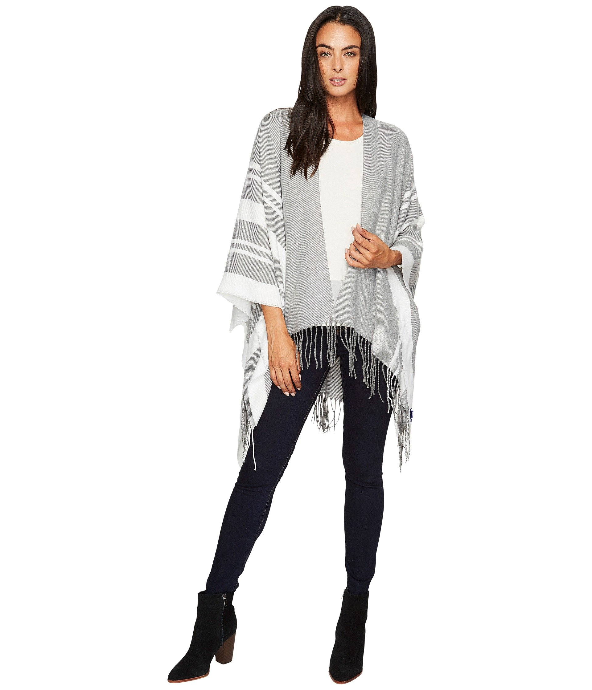 HAT ATTACK Stripe Poncho, Charcoal/Ivory