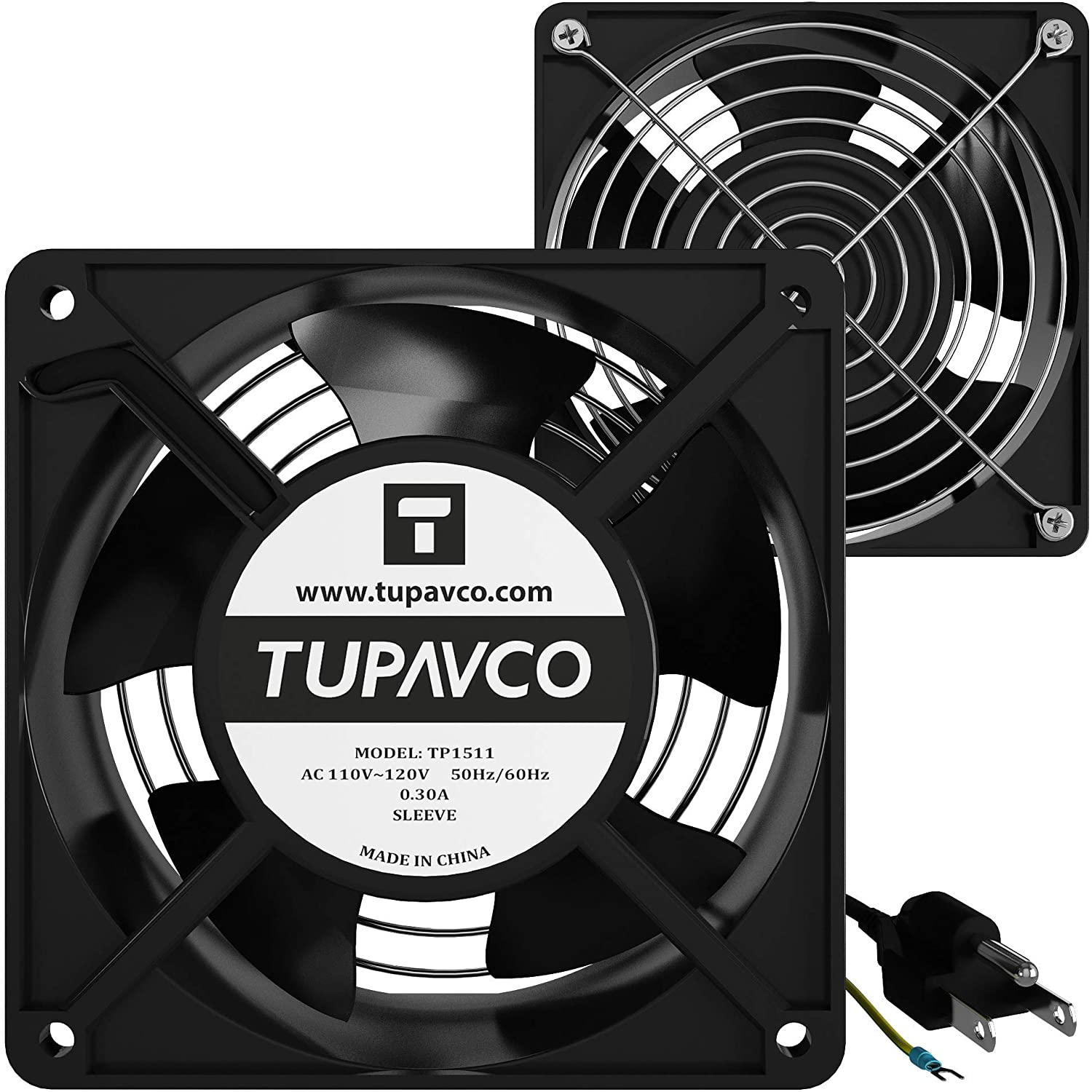 Network Cabinet Fan (Dual 2pc Kit for Server Rack Cooling) Pair of Ultra Quiet Roof Rackmount Muffin Fans 120mm 4in Noise Level 40dBa Steel Frame Ventilation with 110V AC/Ground Cable -Tupavco TP1511