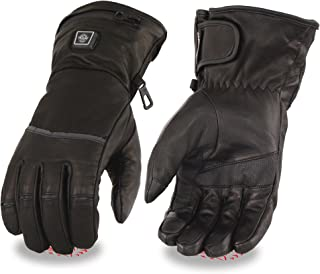 Milwaukee Leather-Men's Waterproof Heated Gantlet Glove w/I-Touch Comes With Portable Rechargeable Batteries -BLACK-XL-7513
