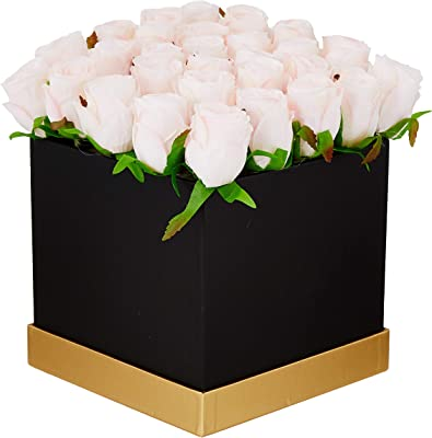 Fourwalls Artificial Rose Flowers in a Box for Valentines Day Gift (25 Flower in Box, 20 cm Tall, Black and Light/Pink)