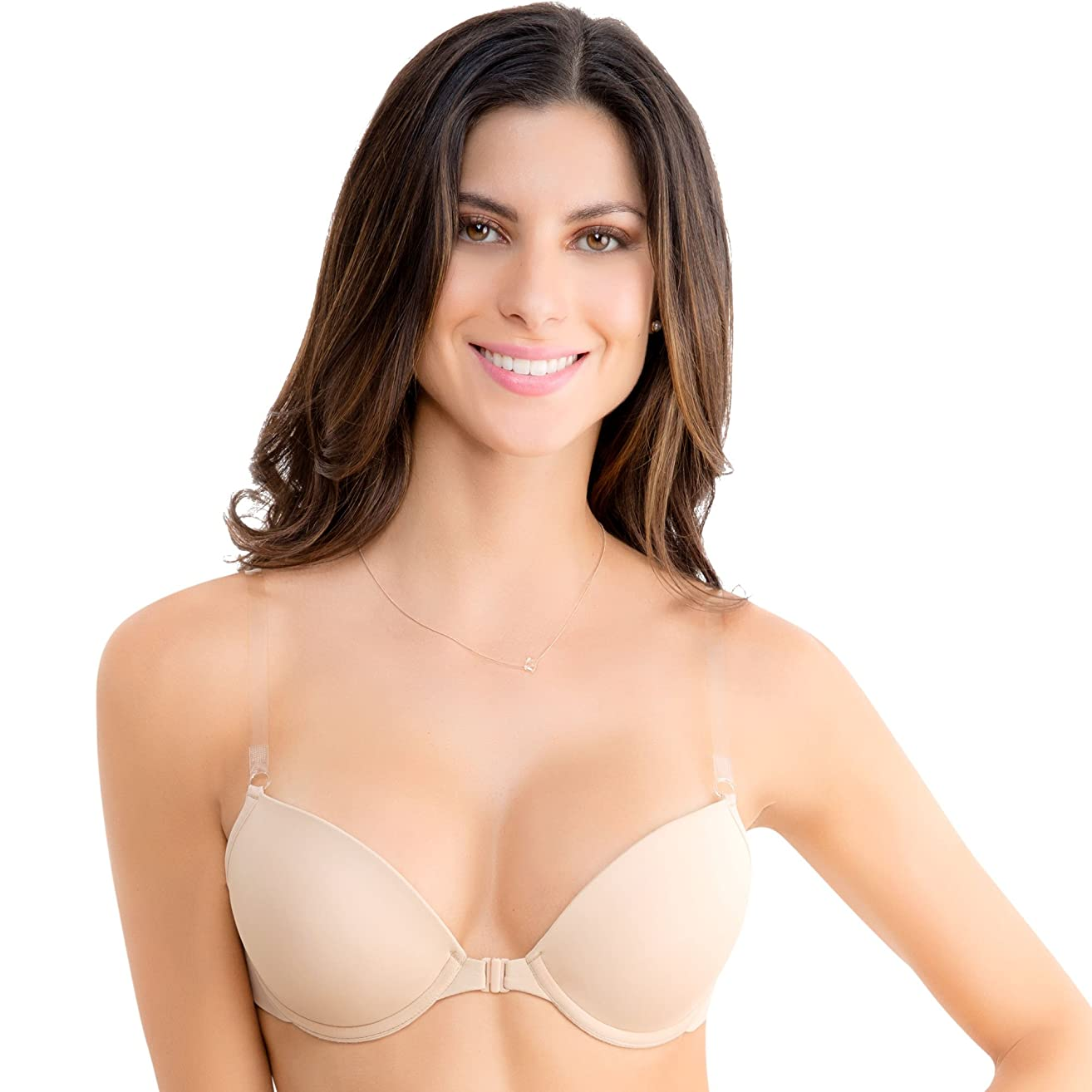 Ilusion 7406 - Women's Lighly Padded Clear Solutions Front Closure Bra