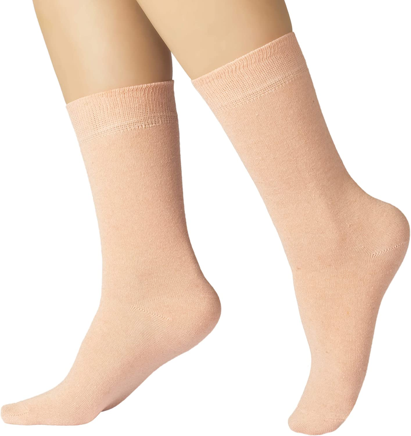 4 Pairs Women's Eco Friendly Cotton Dress Socks / Crew Length / Business Casual