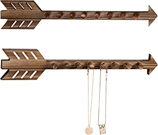 MyGift 8-Hook Rustic Wall Mounted Wood Arrow Necklace Holder, Set of 2