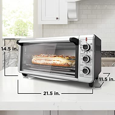 BLACK+DECKER TO3240XSBD 8-Slice Extra Wide Convection Countertop Toaster Oven, Includes Bake Pan, Broil Rack & Toasting R